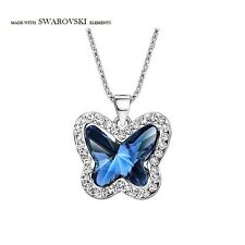 Blue Clear White Swarovski Crystal Element Butterfly Chain Necklace Pendant Gift