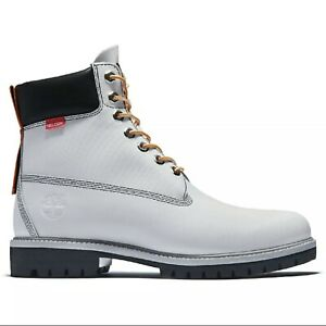 Timberland Men's Premium Rare 6 Inch Helcor Leather White  Boots A3ZZP SIZE 9.5