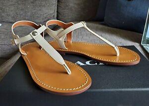 COACH Leila Leather Sandal w/ Stud T-Strap Vamp, Vanilla, Size 5.5 B -