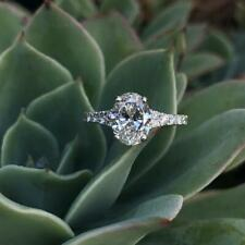Engagement Ring 925 Sterling Silver 3.00Ct Excellent Cut Oval Diamond Solitaire
