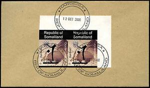 Somaliland 2000 Aardvark Imperf Pair Hand Overprint Cover #C33854