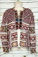 Peck & Peck Fair Isle Nordic Sweater Cardigan Tassels Boho Womens M Wool Blend