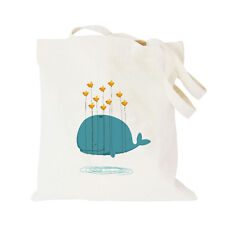 Stylish Women Lady's Canvas Shoulder Bag Whale Pattern Eco-Friendly Tote Handbag