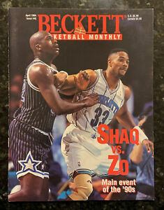 Beckett Basketball Card Monthly.   April 1994 #45 Shaq & Mourning Cover