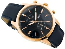Fossil FS5436 Mens Townsman Rose Gold Plated Blue Strap Watch