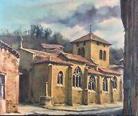 Tableau huile Original signé Jean Berthier «Église Chessy-Les-Mines» 1984