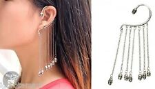 Pair heavy punk silver skull dangle chain drop stud ear cuffs party earring UK