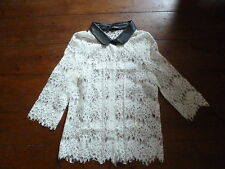 THE KOOPLES CREAM SHEER  LACE SHIRT & LEATHER COLLAR, XS, 4-6