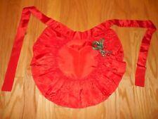 Vtg Christmas RED TAFFETA Hostess HALF APRON Huge Ruffle w/ GREEN Ribbon & Bells