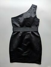 ASOS One Shoulder Fitted Black Satin Belted Midi Wiggle Pencil Party Dress 12