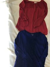 Lot Of 2 Ladies Blouses Tops Size XL Blue Red Free Shipping