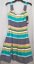 Size 10 Sundress Striped Turquoise Navy Blue Green White Tan Nine West New Tags