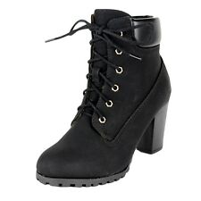 Womens Faux Leather Lace Up Chunky Stacked Heel Rugged Ankle Boots Black