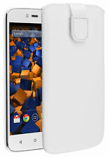 Mumbi Custodia in pelle per Lenovo MOTO C Plus Custodia Case Cover per Cellulare Protezione Bianco