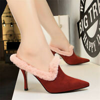 Women's Suede Mules High Heels Pumps Pointed Toe Sandals Casual Party Shoes BN