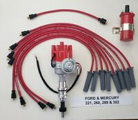 FORD 289 302 SMALL FEMALE HEI DISTRIBUTOR + COIL + 8.5mm RED SPARK PLUG WIRES