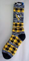 Pittsburgh Penguins Men's Socks Large Size 10 to 13 Double Plaid
