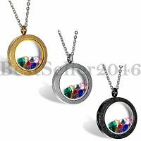 Womens Living Memory Floating Charm Meshed Glass Round Locket Pendant Necklace