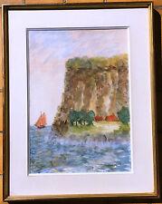 Belle aquarelle encadrée – Paysage côtier