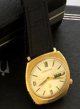 14K Gold Bulova Accutron Watch Day & Date in Original Box - Triple Signed Bulova