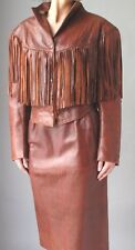 BROWN FRINGE LEATHER DRESS SUIT - JACKET and SKIRT - SIZE M 10