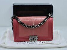 CHANEL GALUCHAT STINGRAY AND CALF SKIN FLAP MEDIUM BOY BAG IN PINK