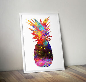 Pineapple print, poster, Fruit, Picture, wall art, gift, Kitchen, Watercolour