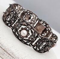 An Exquisite Vintage Art Deco 1930s Sterling Silver 925 Marcasite Pearl Bracelet