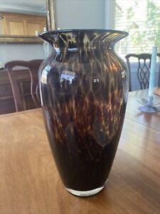 """Gorgeous Art Glass Amber Leopard Tortoise Shell  Vase 12"""" Tall"""