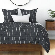 Texture Linear Broken Layered Mud Cloth Hygge Sateen Duvet Cover by Roostery