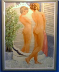 Poignant Nude Oil Painting of Girl in the Mirror by George Shelly (b.1941)
