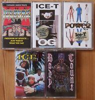 5x ICE-T MUSIC CASSETTE TAPES JOB LOT BUNDLE BODY COUNT HIP HOP GANGSTA RAP VG+