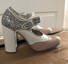 Miu Miu Prada Argento white tan womens Mary Jane Silver Glitter Pumps 39.5