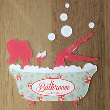 Acrylic Bathroom door sign, Shabby Chic, Vintage Bath Design, Bathtub Plaque,