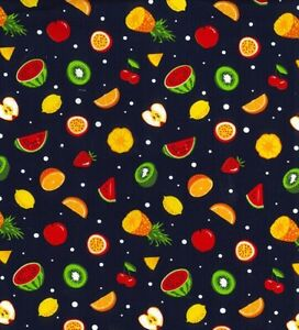 100% Cotton Poplin Fabric Rose & Hubble White Fruit Food