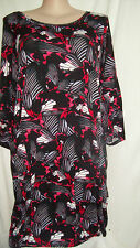 Autograph stretchy BUTTERFLY winter dress 18 Black RED with POCKETS 3/4 sleeve
