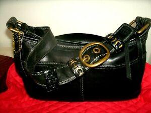 Coach Bleecker No 11416 Tattersall Small Medium Black Leather Shoulder Bag VGC!