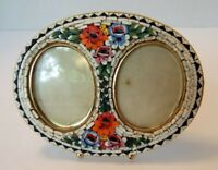 Vintage MICRO MOSAIC Double Oval Raised Floral Picture Frame ITALIAN Victorian