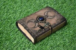 vintage leather journal third eye stone journal with key closer triple moon