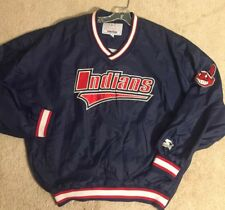 90s VTG STARTER CLEVELAND INDIANS SEWN PULLOVER JACKET MENS XL Chief Wahoo  RARE 6917fad3f