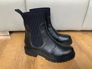 RRP £120 - ANTHROPOLOGIE CHELSEA GEORGINA BOOTS Black Real Leather UK 6 / 39
