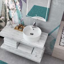 Lavabo bacinella d'appoggio bianco in ceramica con base miscelatore