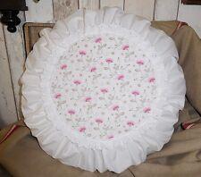 *Deko-Traeume* 1 Deko Kissen Rund Weiß Blüten - Spitze - DM ca. 50 cm - Shabby