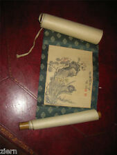 Antique Signed Chinese Watercolor Painting Scroll