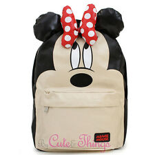 """Disney Minnie Mouse School Backpack with 3D Bow Ears 16"""" Large Loungefly Bag"""