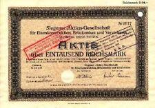 Siegener AG für Eisenkonstruktion Geisweid histor. Aktie 1929 Siegen Siegerland