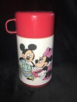 Vintage  Mickey and Minnie Mouse Thermos Walt Disney Co. Aladdin Red Top
