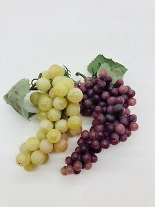 Lot 2 Realistic Artificial Faux Decorative Grapes Clusters Plastic Rubber Fruit