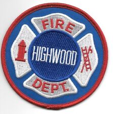 "Highwood  Fire Dept., IL (3.5"" round size) fire patch"