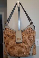 e842ebc33e GUSSACI STRAW faux leather purse shoulder bag beige grey tote handbag Roomy!